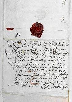 Schreiben Otto v. Guericke d.J. an den Rat der Stadt Magdeburg