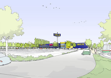 Ansicht Neubau IKEA mit Parkplatz