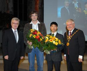 Dr. Rüdiger Koch, Christian Warnke, Dan Sato und Prof. Dr. Klaus Erich Pollmann (v.l.n.r.) Foto: Landeshauptstadt Magdeburg