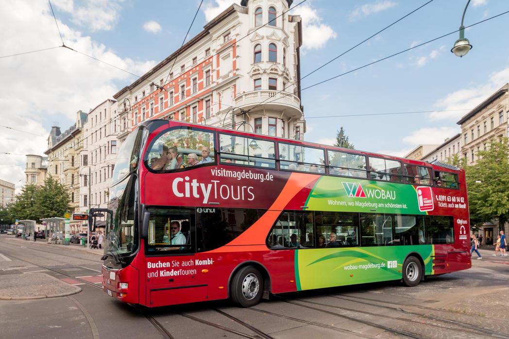 Stadtrundfahrt im Doppeldeckerbus ©Andreas Lander, Magdeburg Marketing